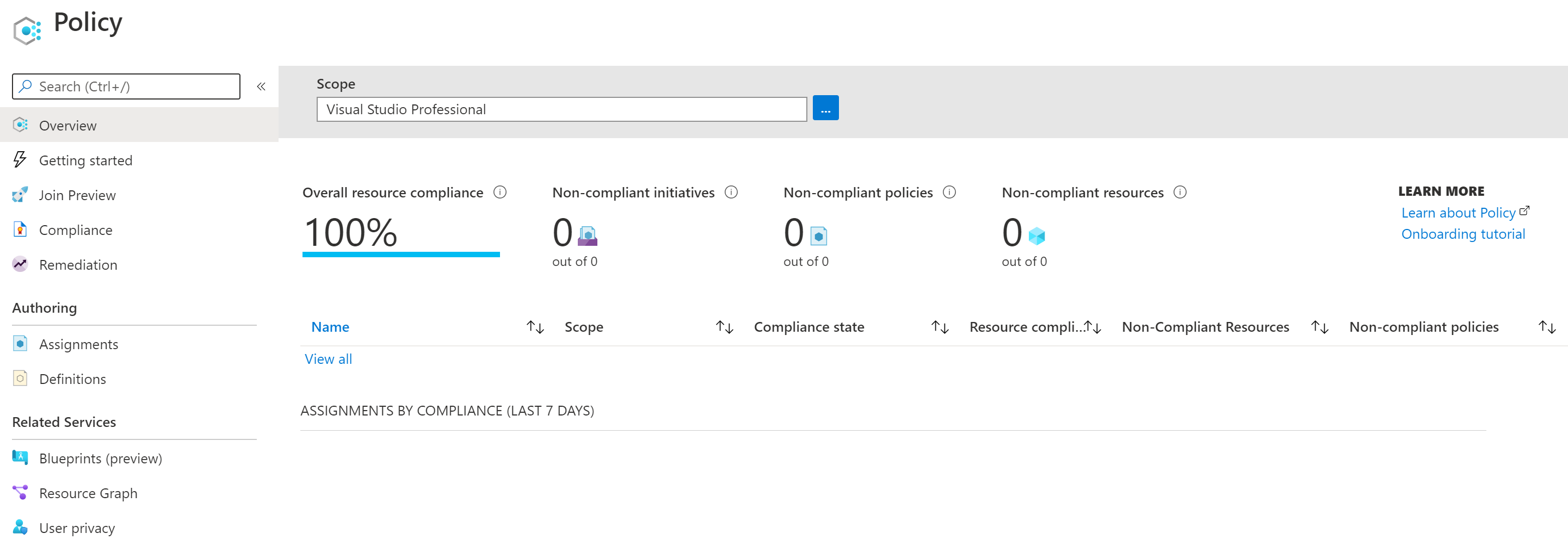 azure demo environment policy compliance