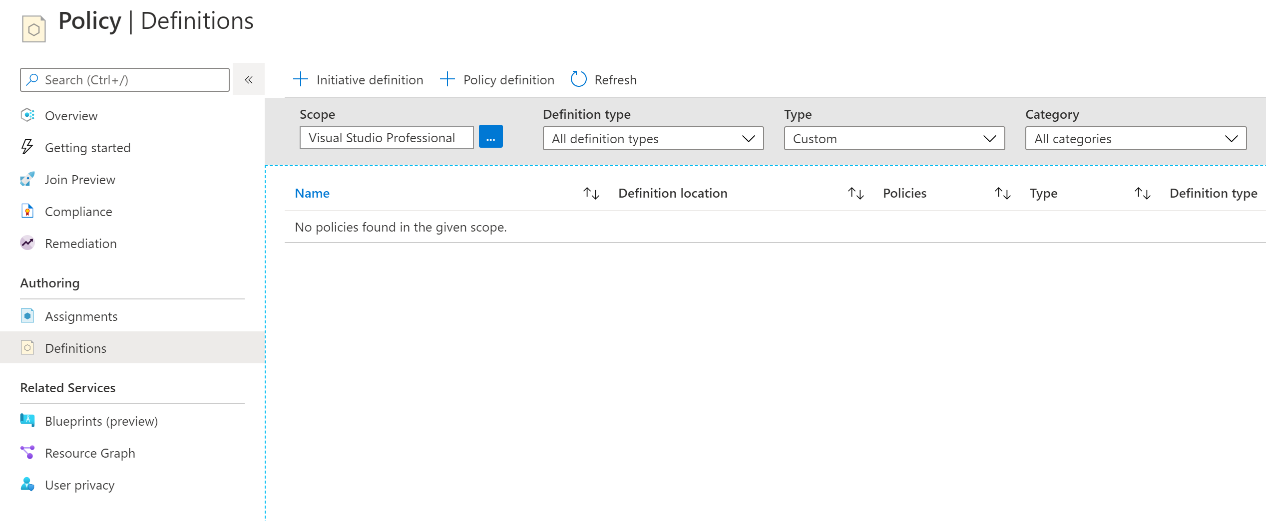 azure demo environment policy definitions