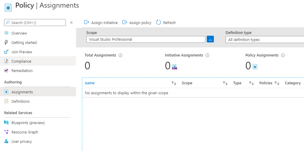 azure demo environment policy assignments