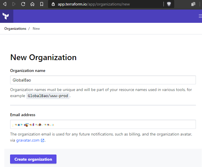 terraform cloud new organization