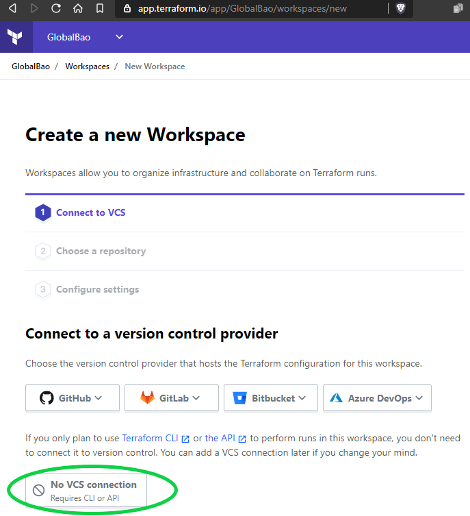 terraform cloud new workspace