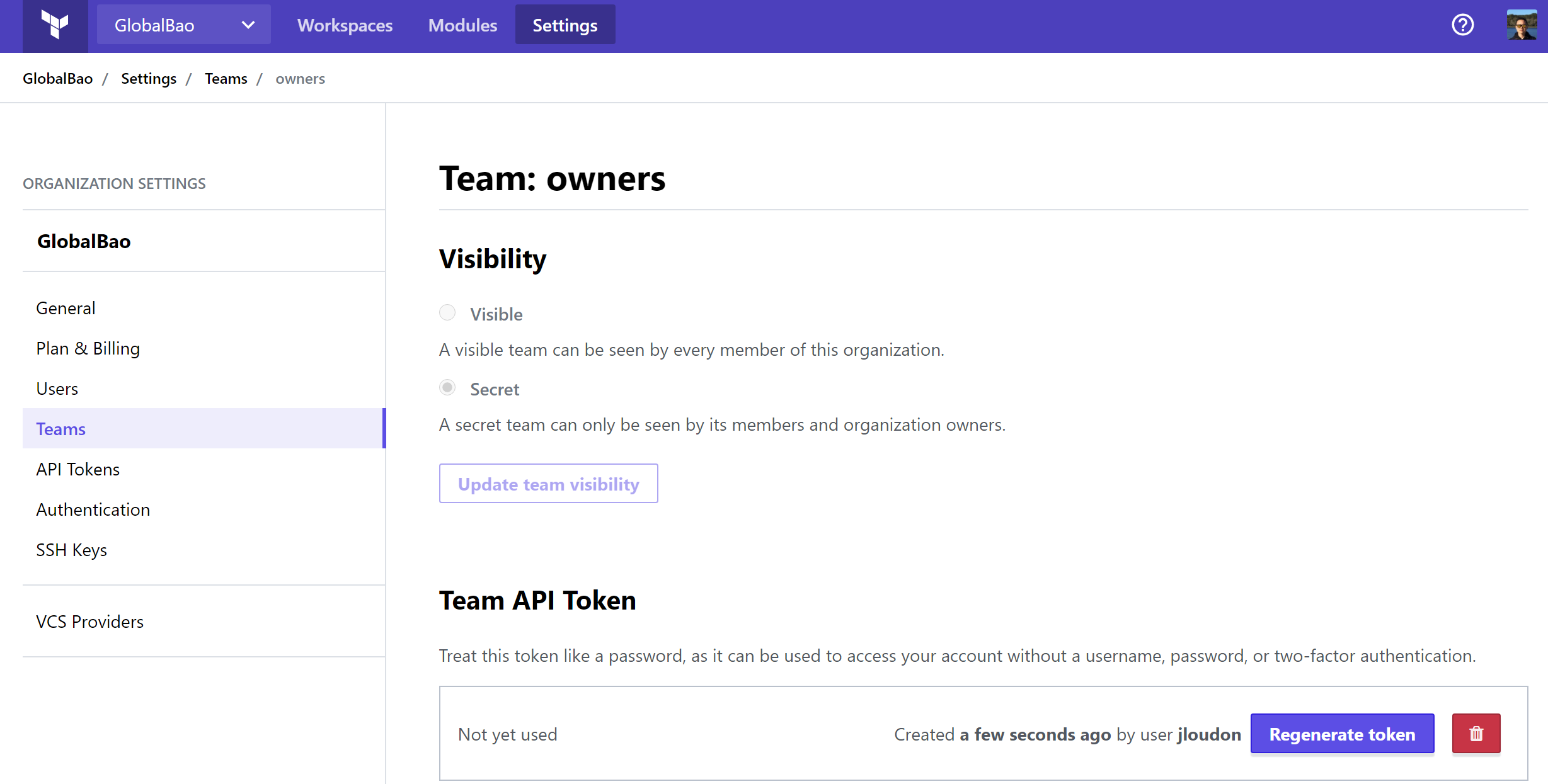 terraform cloud api token